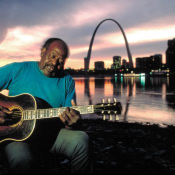 Big Bad Smitty playing guitar, Mississippi River, St. Louis, MO