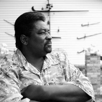 B&W portrait of blues musician Big Jack Johnson, Clarksdale, MS