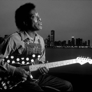 B&W portrait of blues musician Buddy Guy, Lake Michigan, Chicago, IL
