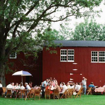 Family reunion picnic and red barn, Bucks County, PA