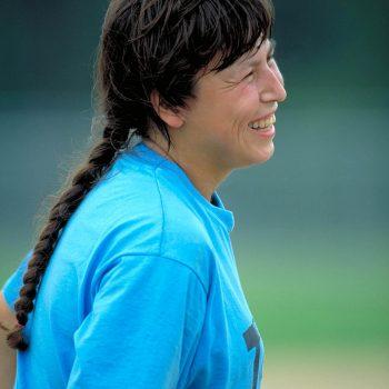 Female softball player at corporate picnic Tyson Foods, Arkansas