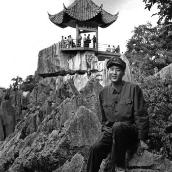 B&W portrait of Chinese soldier at Stone Forest, China