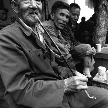 B&W portrait of old chinese man with pipe, Kunming, China