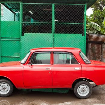 Red car and green wall, Havana, Cuba