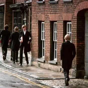 School boys in tuxedos, Eton, England, UK
