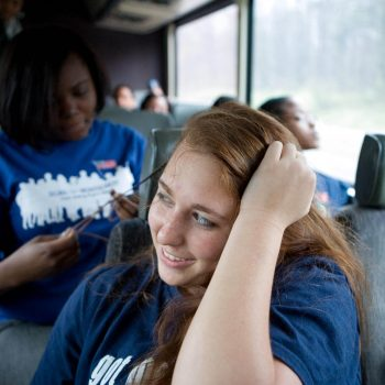 Freedom's Ride. High school students retracing the Civil Rights Movement of the 1960's, On bus from NJ to Alabama. Kelly/Mooney Photography