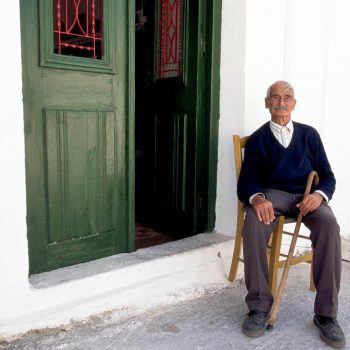 Old man with cane, Island of Crete, Greece
