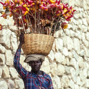 Black man with basket of flowers on head, Haiti
