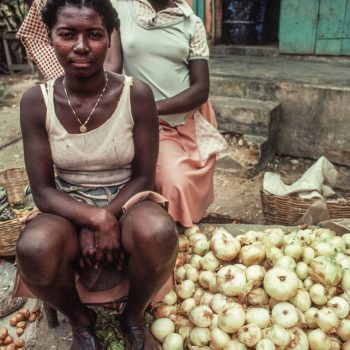 Young women vendors selling onions, Haiti