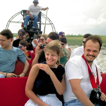 Couple in air boat, Florida Everglades