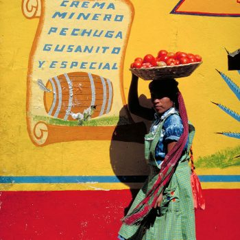 Woman vendor with basket of tomatoes on head against colorful wall at market, Oaxaca, Mexico