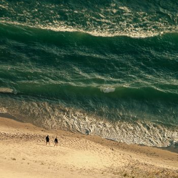 Looking down at Lake Michigan, Sleeping Bear Dunes National Park, Michigan