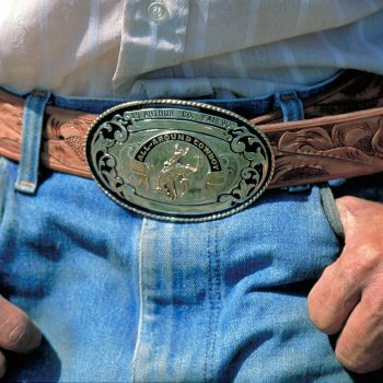 Prize belt buckle, cowboy at Arthur County Fair and Rodeo, Nebraska