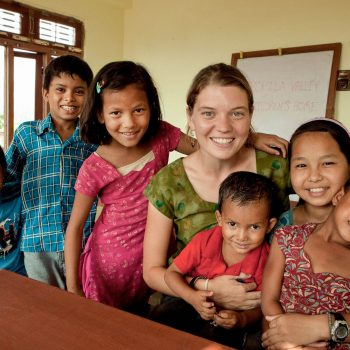 Maggie Doyne and her children at the Kopila Childrens Home, Surkhet, Nepal. Opening Our Eyes Movie.