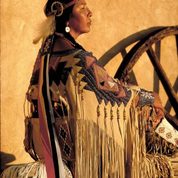 Sioux indian woman with beaded dress, Santa Fe, NM