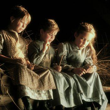 Young girls in barn loft