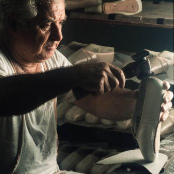 Cobbler making ballet slippers, Capezio