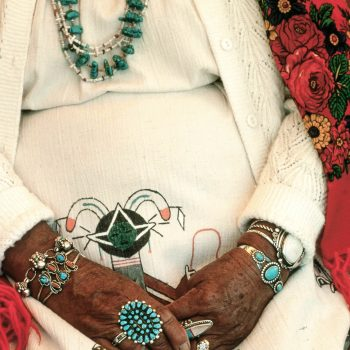 Female native American's hands with turquoise, Santa Fe, NM