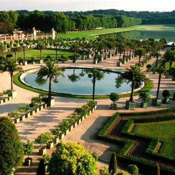 Looking down on gardens, Palace of Versailles, France